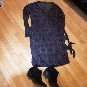 Purple and gray faux wrap dress